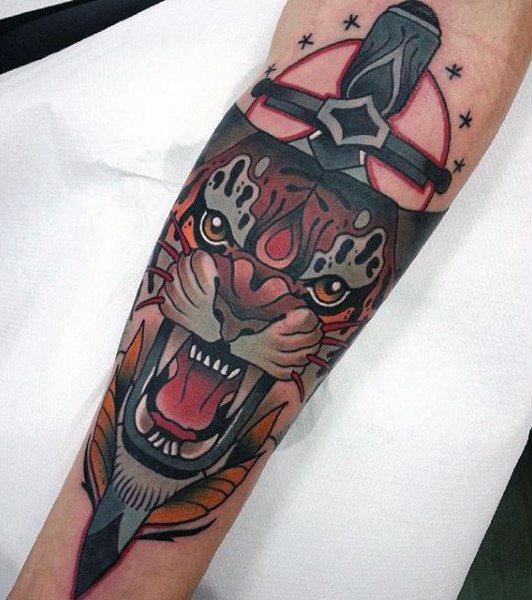 sword tattoo on arm men design