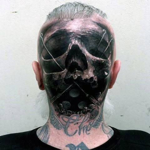 back skull head tattoos male