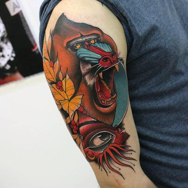 monkey arm tattoo design images men