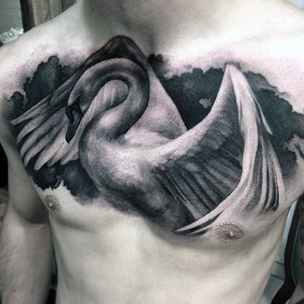 chest white swan tattoo ideas for men and guys