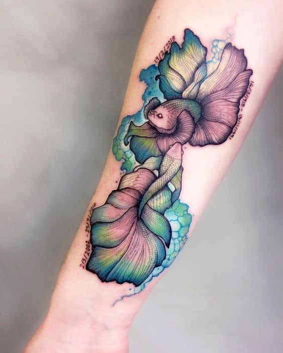 arm watercolor fish tattoo design ideas
