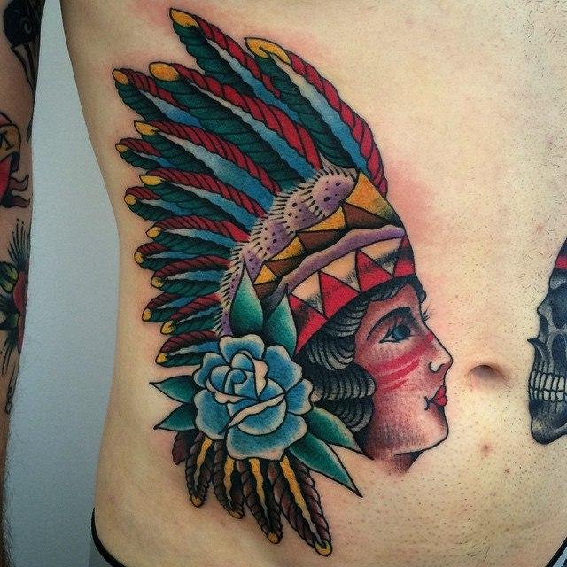 indian portrait mens stomach tattoo designs