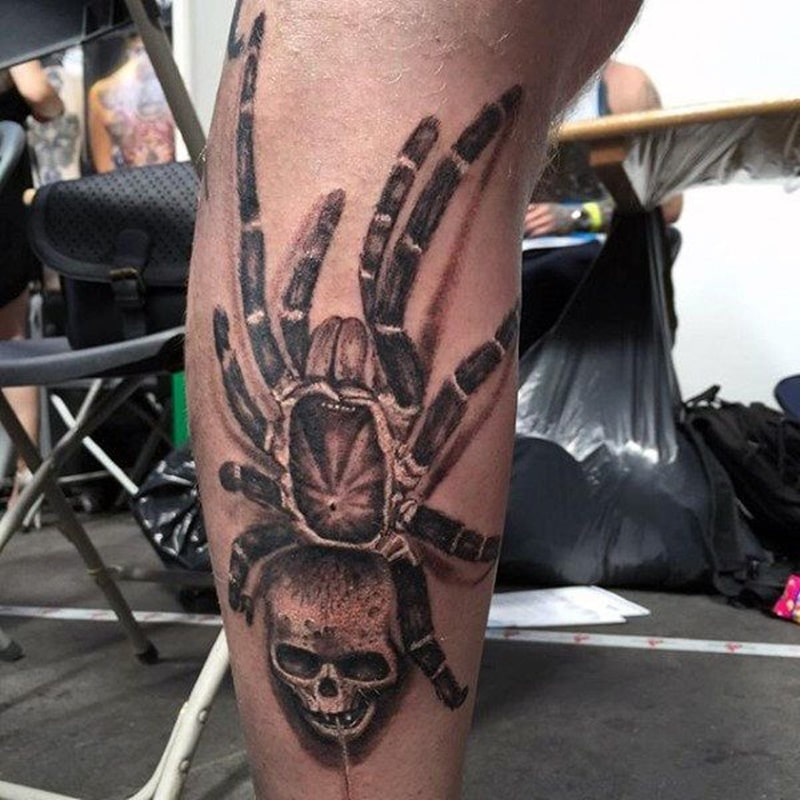 leg spider tattoo men 2021