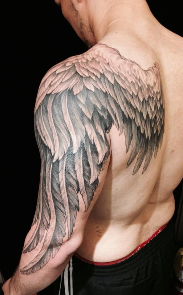 shoulder back angel wings tattoo men design