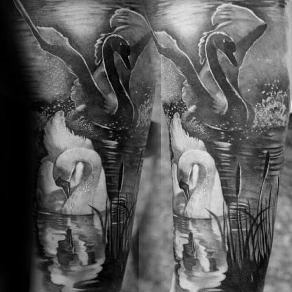 swan tattoo couple