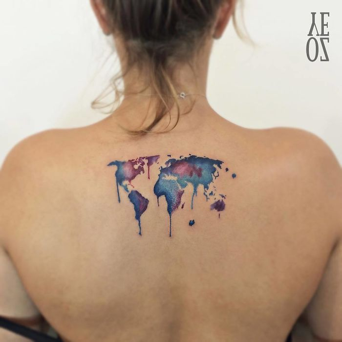 inspirational meaningful  tattoo travel the world