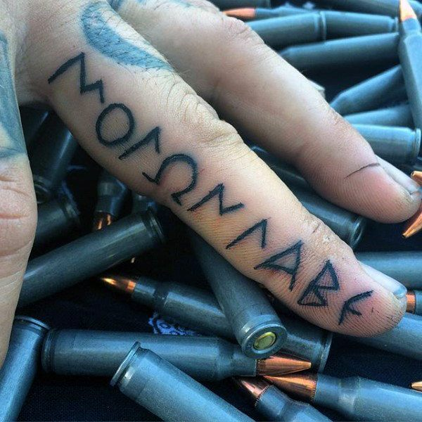 temporary letters tattoo ideas for men's fingers