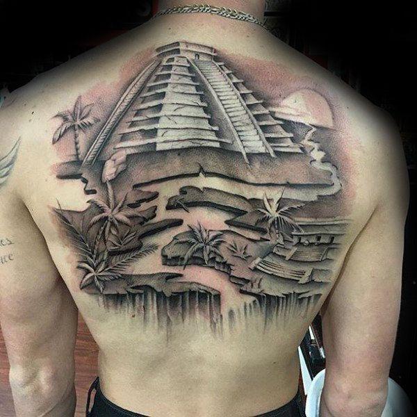 back aztec city tattoo design ideas