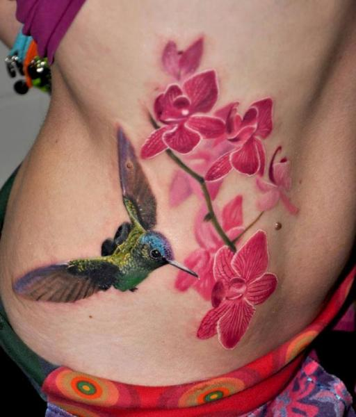temporary colorful colibri bird tattoo design images