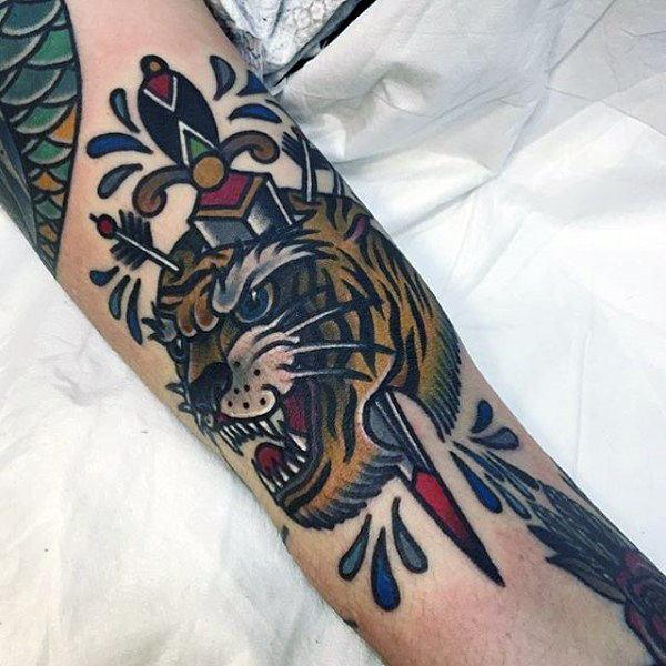 old school knife tattoo