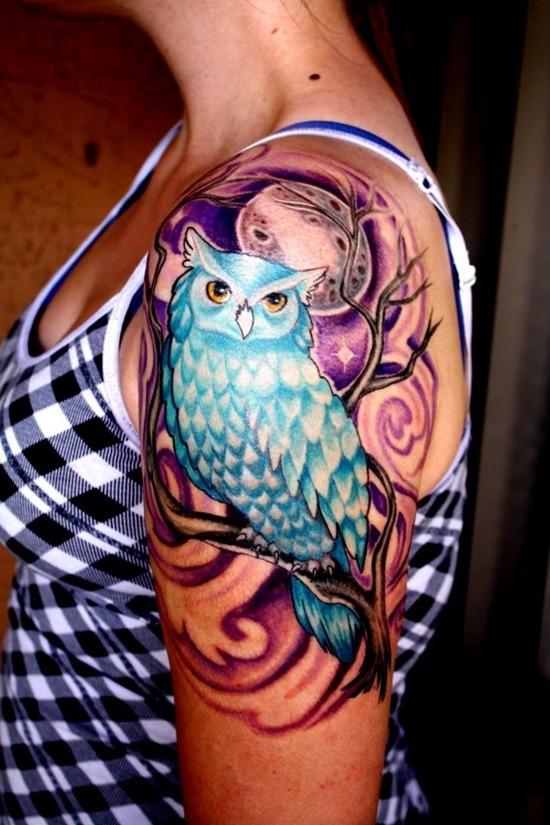 best owl tattoos on shoulder for girls