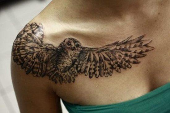 owl chest tattoo female
