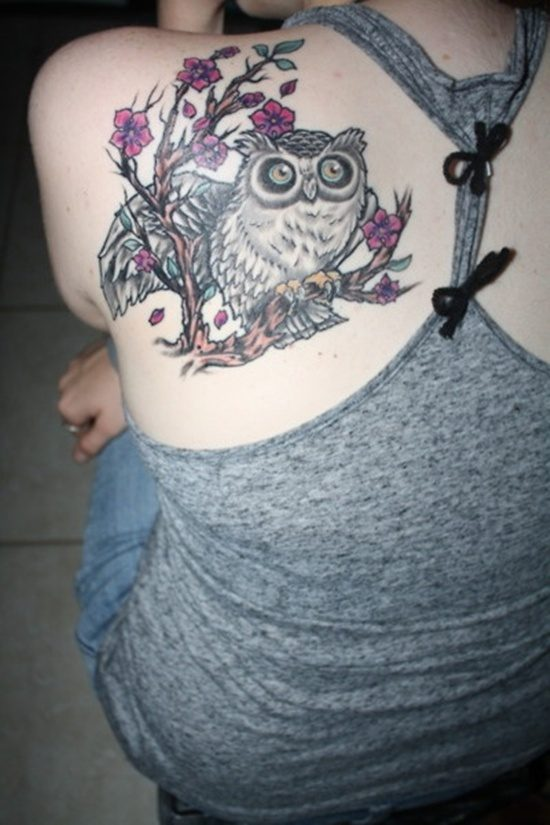 colourful owl tattoo images for women