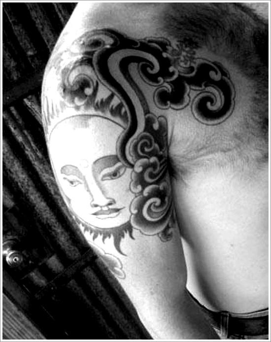 men sun dream catcher tattoo