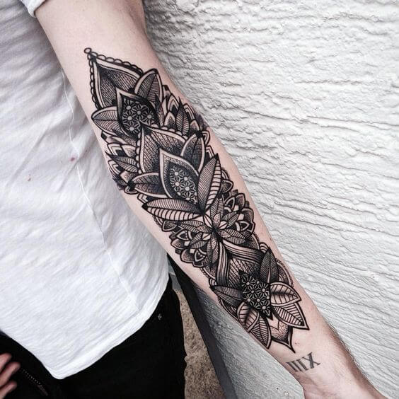women's lower arm sleeve tattoos