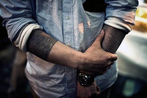 Black Two Line Band Tattoo Designs for men