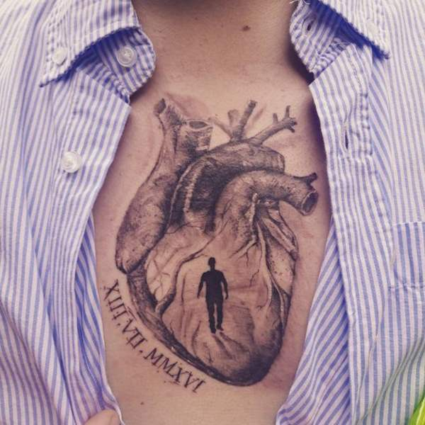 heartbeat tattoo for men