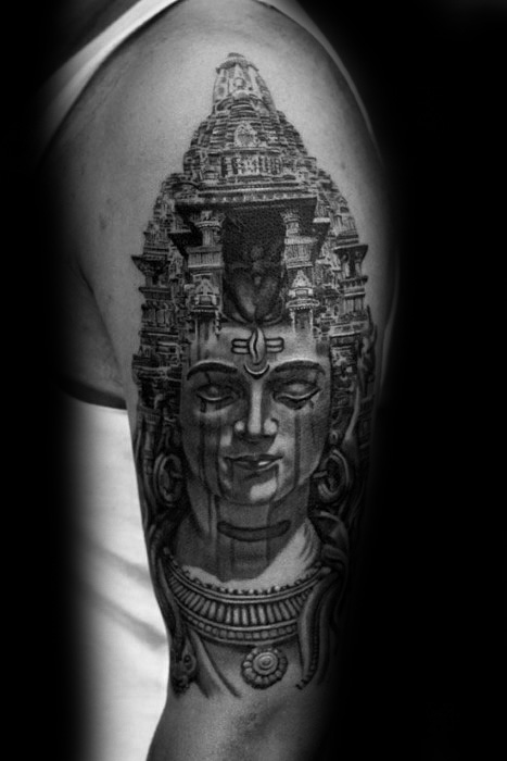 shiva temporary tattoo on arm for men