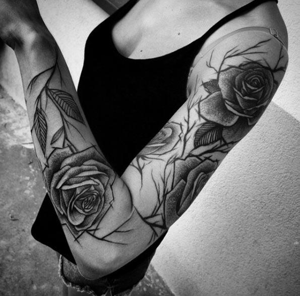 roses half sleeve feminine tattoo