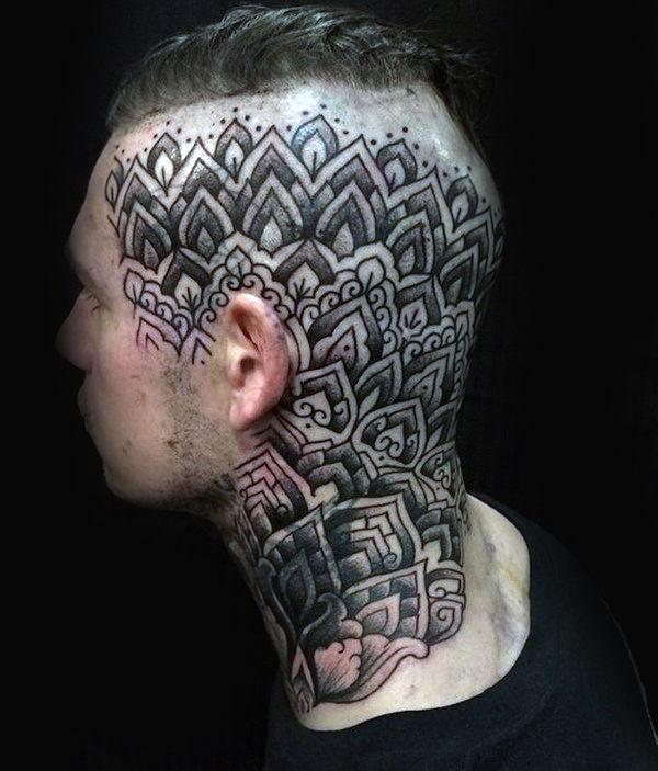 mandala tattoo on head men