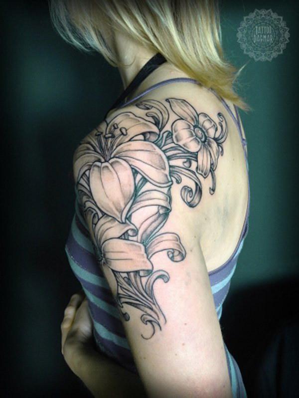 womens floral sleeve tattoos idea