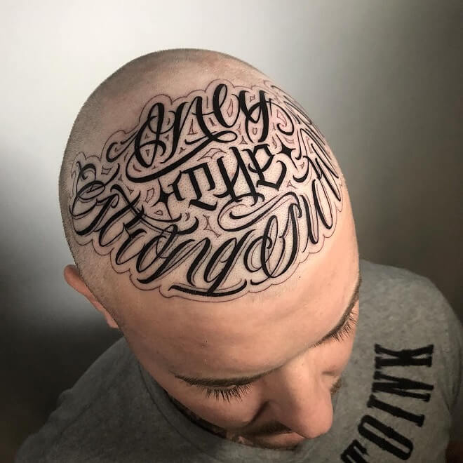 head tattoos with fade