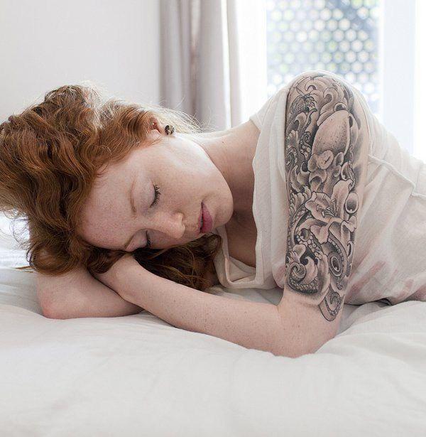women's half arm sleeve tattoo
