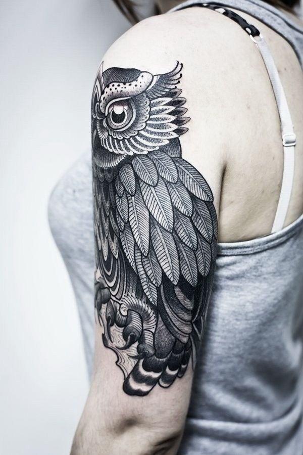 girls owl tattoo arm sleeve