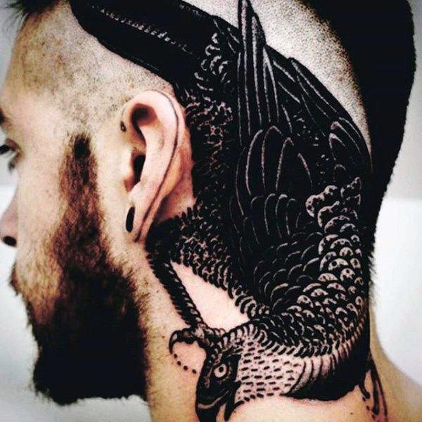 black bird head tattoo