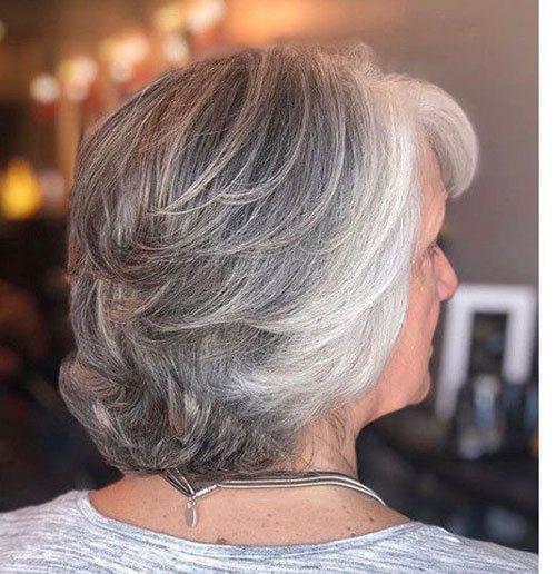 grey bob older woman