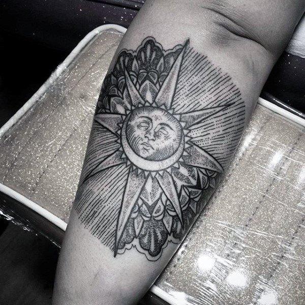 arm best friend moon and sun tattoos