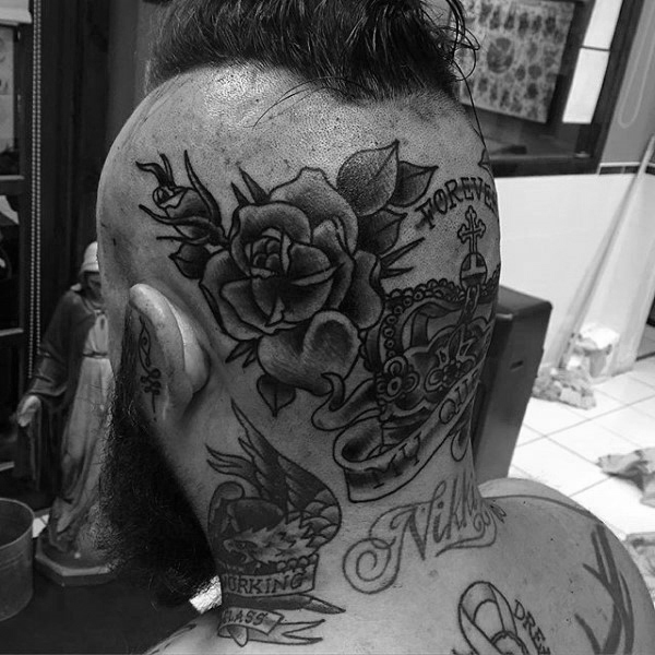 men rose tattoo on head design ideas