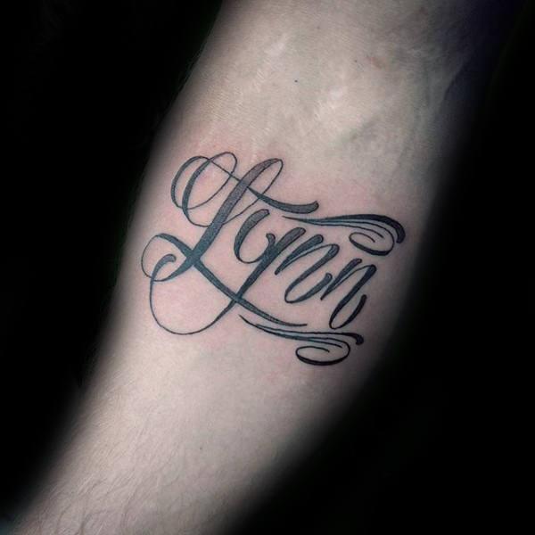 mens text tattoos on arm