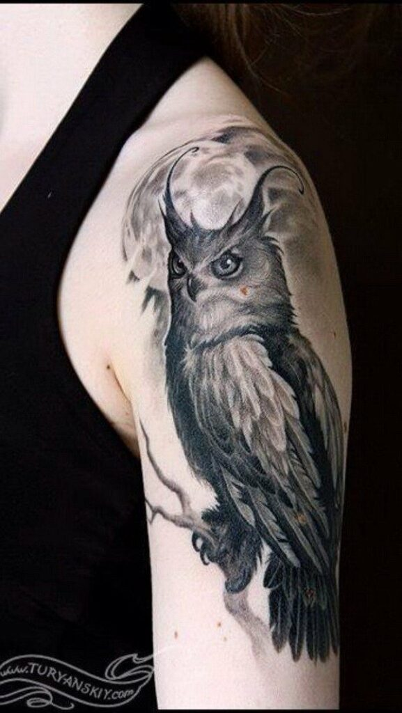 great horned owl tattoo design