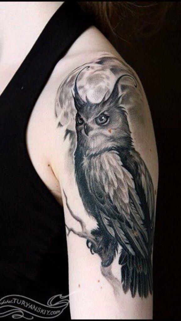 great full arm owl tattoo