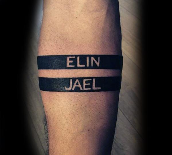 mens forearm name tattoos