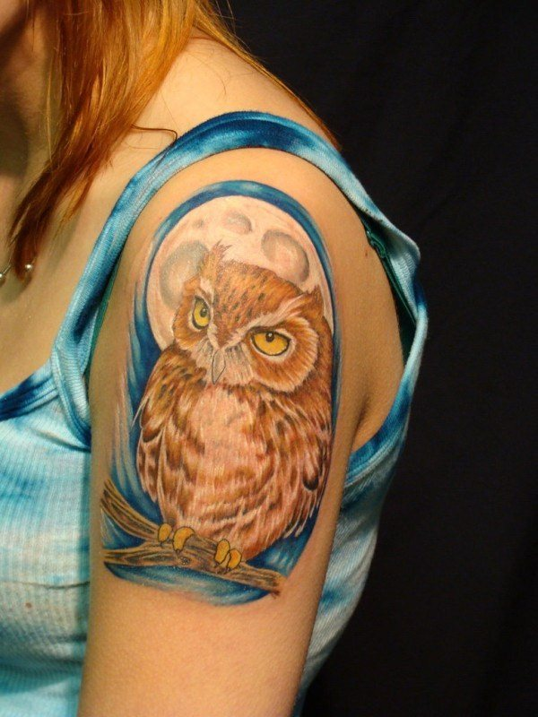 owl shoulder tattoo designs small