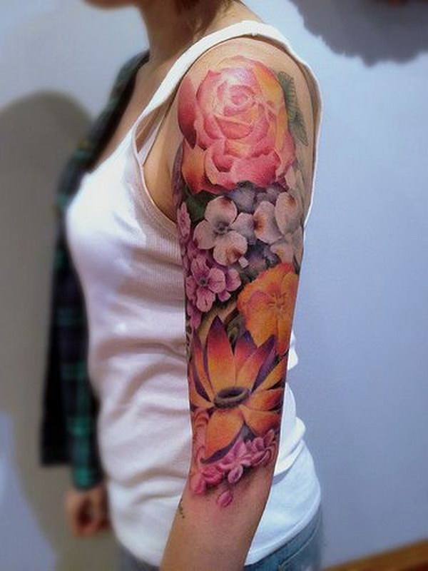 sleeve tattoo on girl