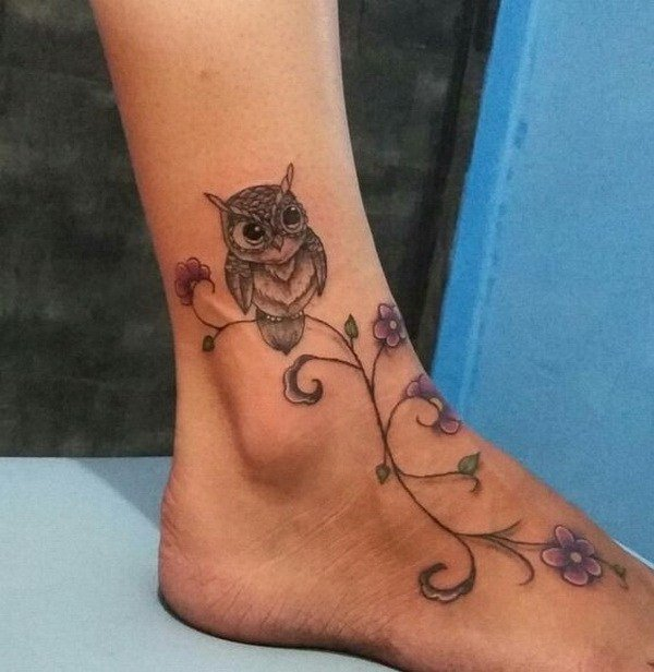 owl tattoo designs for females on foot images