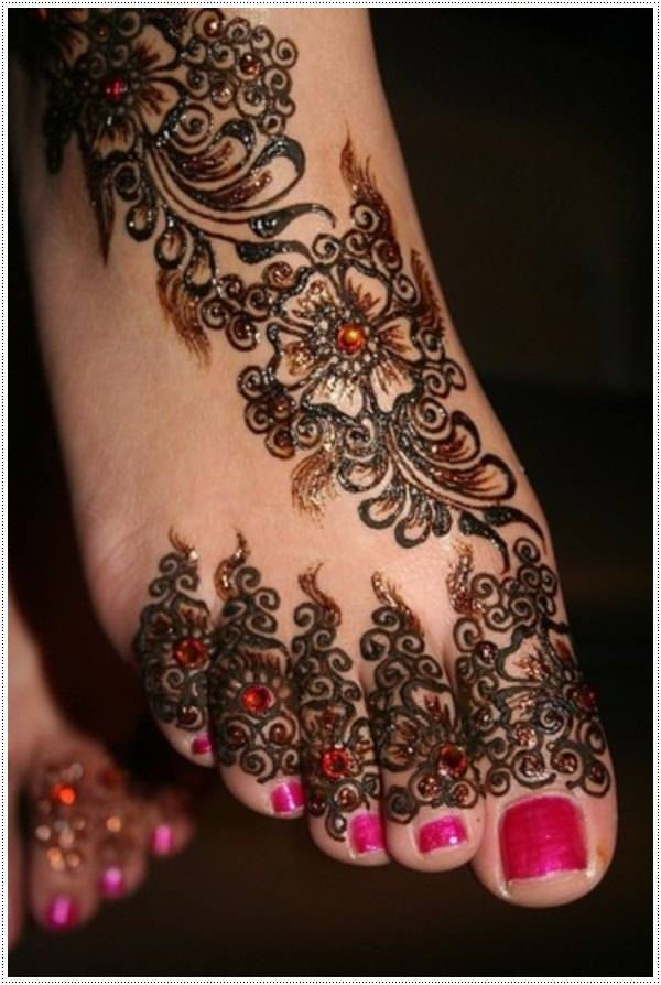 foot henna tattoo designs for female