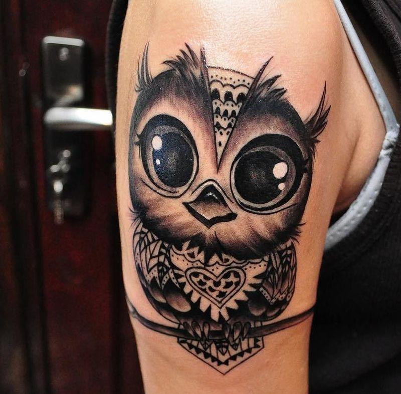 temporary shoulder owl tattoos for women