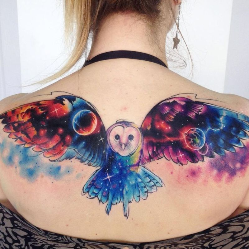 temporary realistic owl tattoo on back design