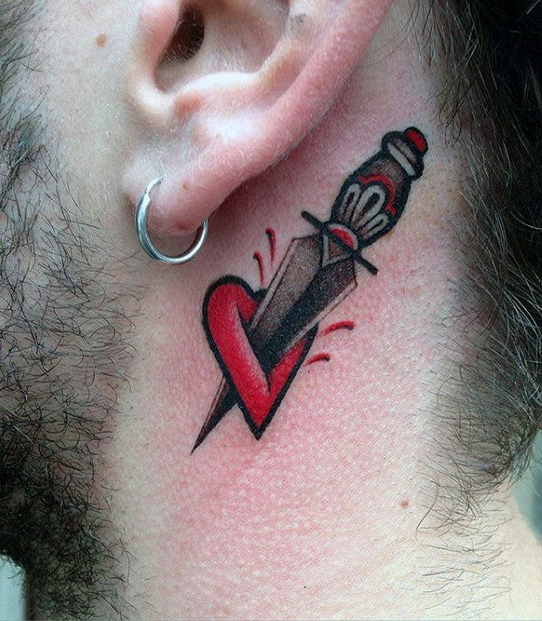 men's heart tattoo designs behind ear