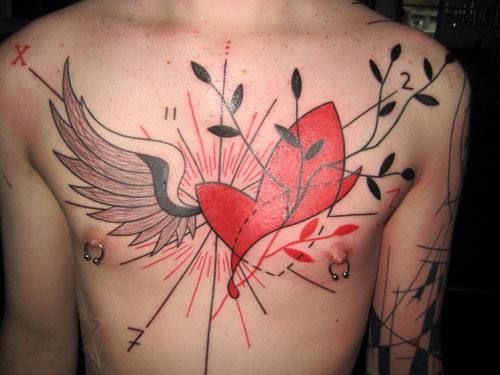 chest heart tattoo designs for guys ideas