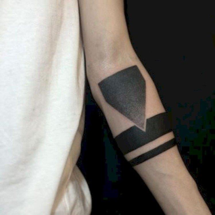 Around arm tattoo, black band tattoo