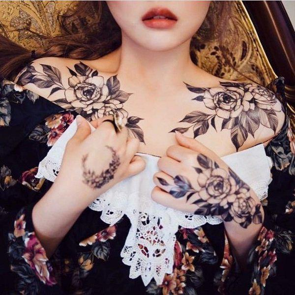 sexiest female chest tattoos flower design ideas