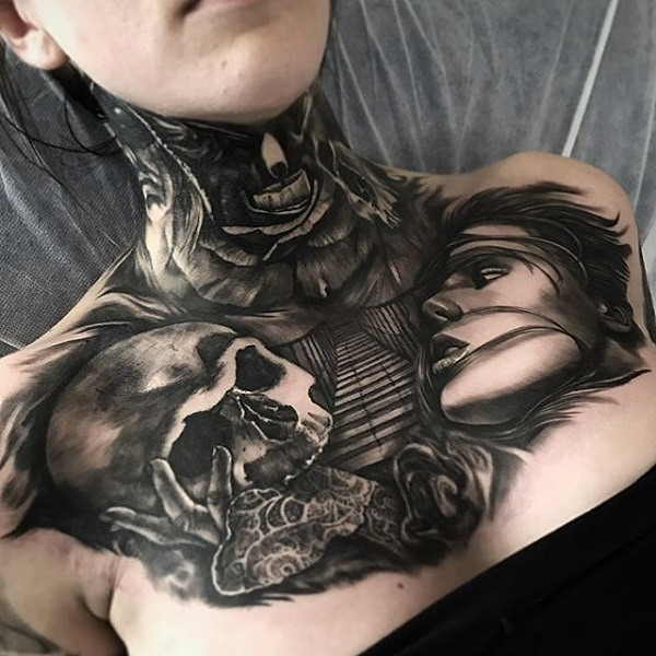 skull tattoo designs for ladies chest ideas