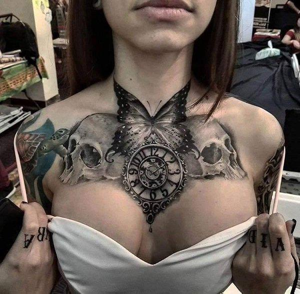 skull tattoo designs on chest for females