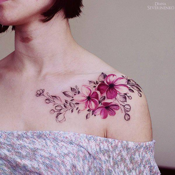 flower chest and shoulder tattoos for females ideas