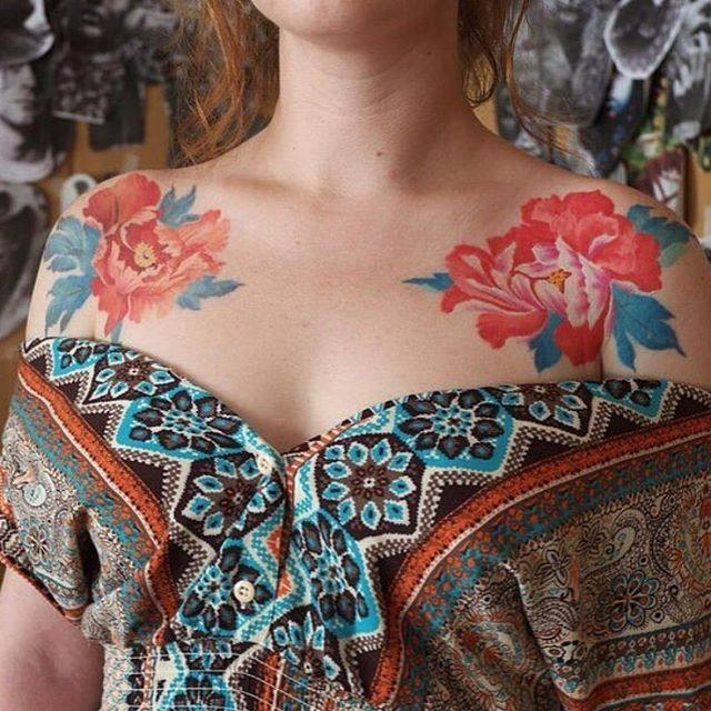 flower shoulder chest tattoo female design
